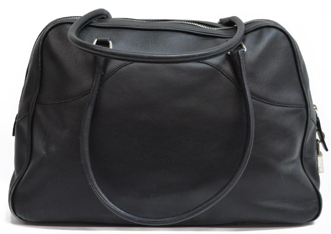 PRADA BLACK LEATHER DOUBLE HANDLED HANDBAG - 2