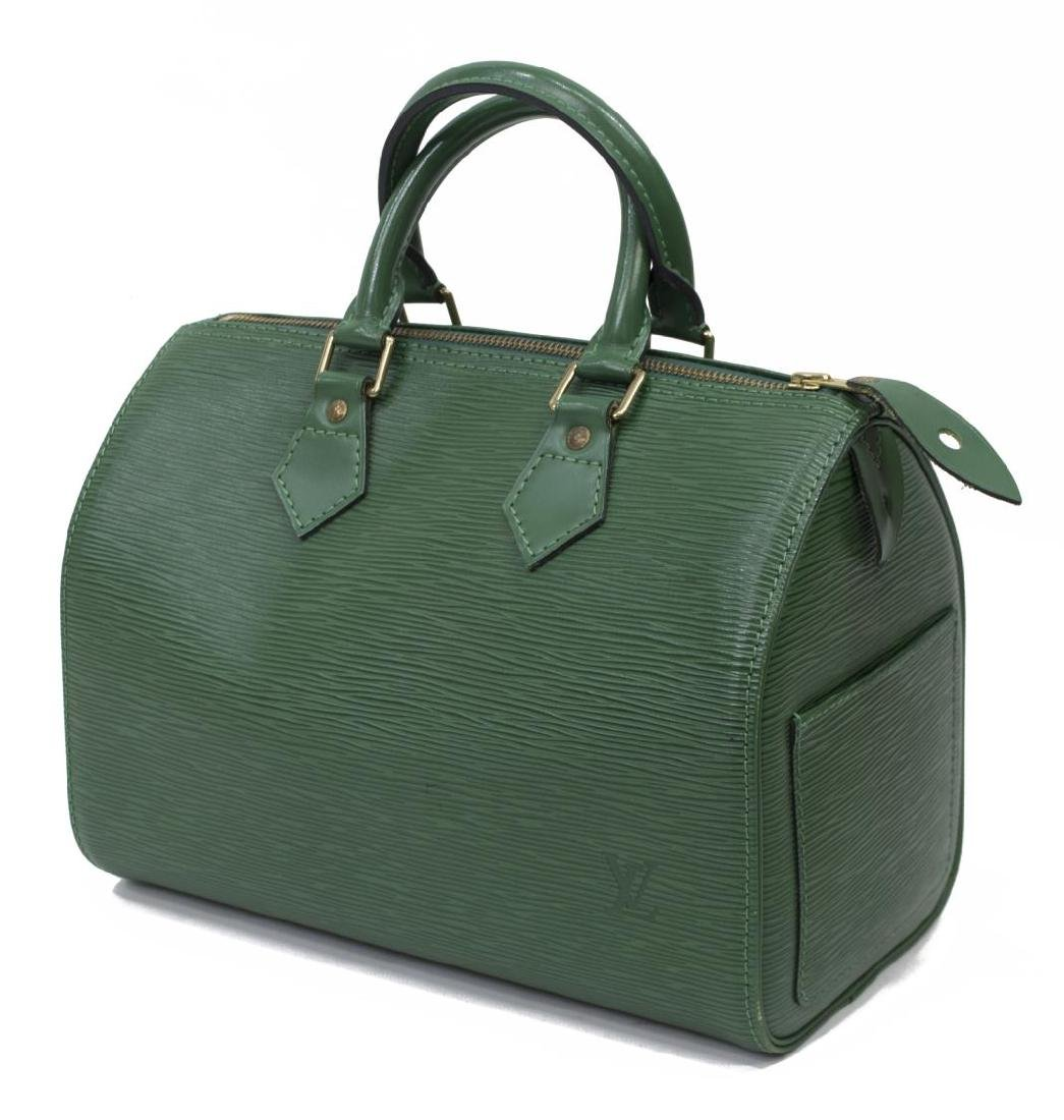LOUIS VUITTON 'SPEEDY 30' GREEN EPILEATHER HANDBAG