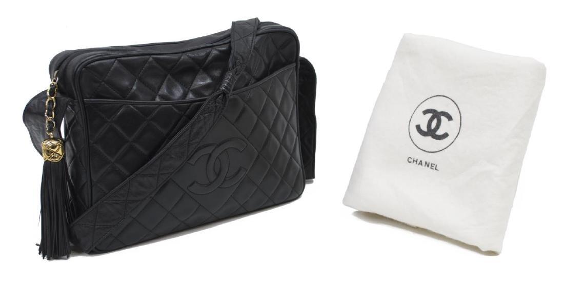 CHANEL BLACK QUILTED LEATHER TASSEL SHOULDER BAG