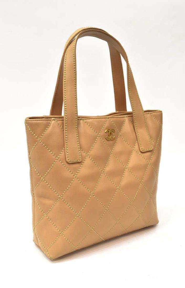 CHANEL QUILTED BEIGE LEATHER HANDBAG