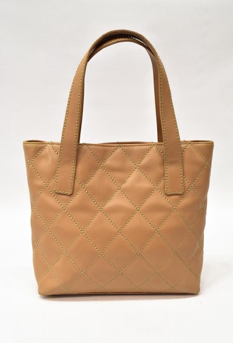 CHANEL QUILTED BEIGE LEATHER HANDBAG - 2