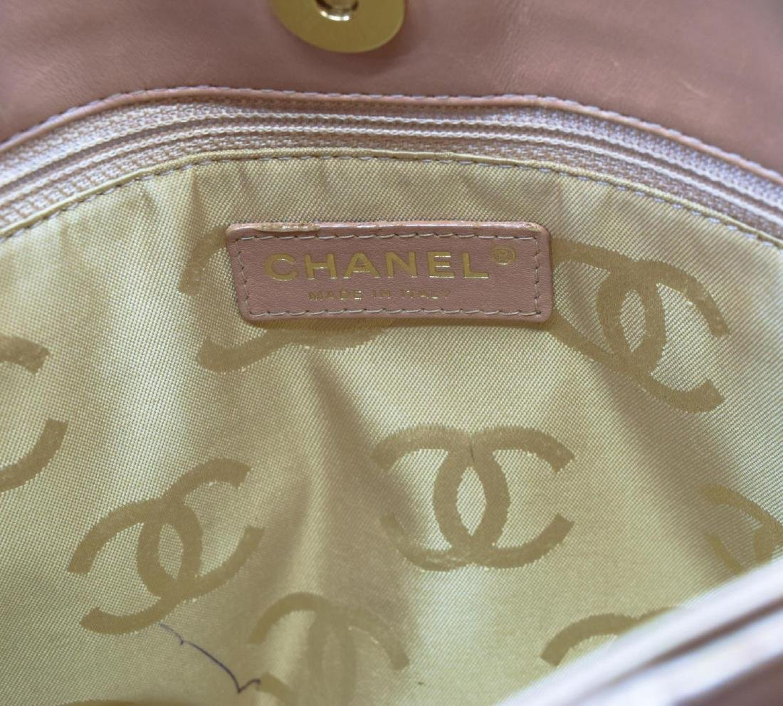 CHANEL QUILTED BEIGE LEATHER HANDBAG - 4