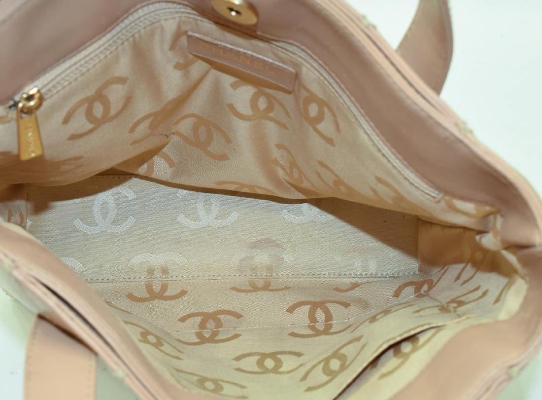 CHANEL QUILTED BEIGE LEATHER HANDBAG - 5