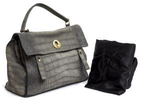 YVES ST LAURENT 'MUSE TWO' GREY LEATHER HAND BAG