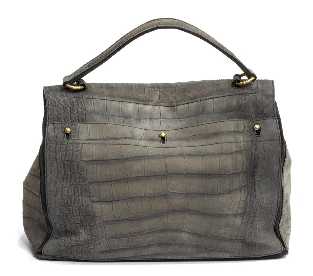 YVES ST LAURENT 'MUSE TWO' GREY LEATHER HAND BAG - 2