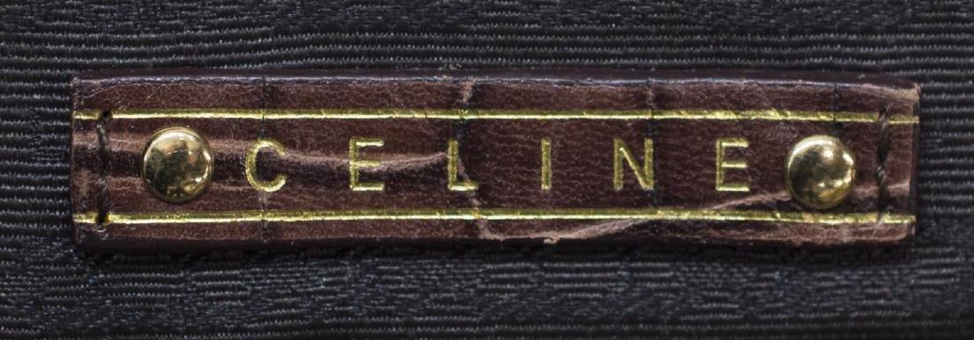 CELINE 'BOOGIE MM' STRAW LINEN & LEATHER HAND BAG - 6