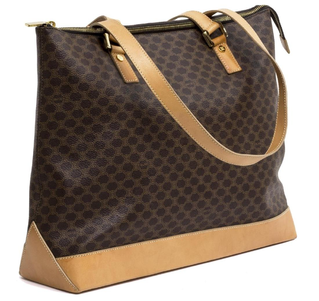 CELINE 'MACADAM' MONOGRAM CANVAS & LEATHER TOTE