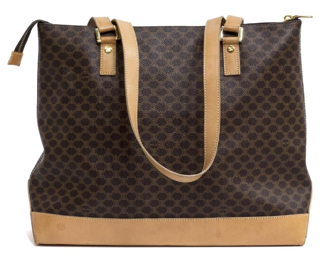 CELINE 'MACADAM' MONOGRAM CANVAS & LEATHER TOTE - 2