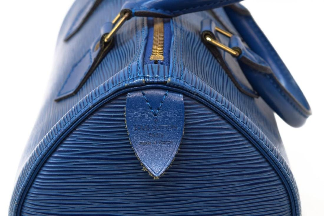 LOUIS VUITTON 'SPEEDY 30' BLUE EPI LEATHER HANDBAG - 4