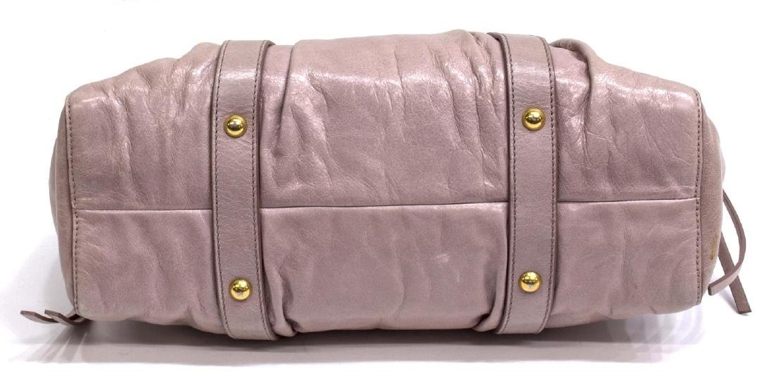 MIU MIU 'VITELLO LUX' PINK LEATHER HAND BAG - 3
