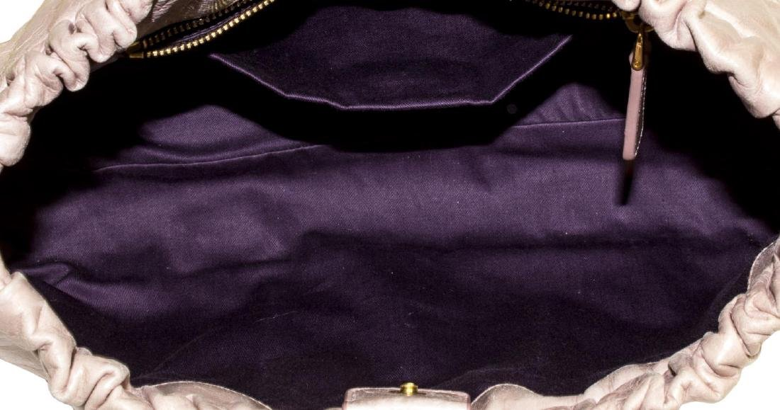 MIU MIU 'VITELLO LUX' PINK LEATHER HAND BAG - 5