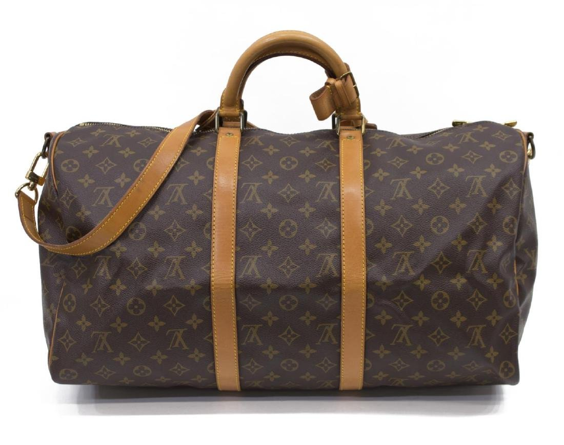 LOUIS VUITTON 'KEEPALL 50' MONOGRAM DUFFLE W/STRAP - 2