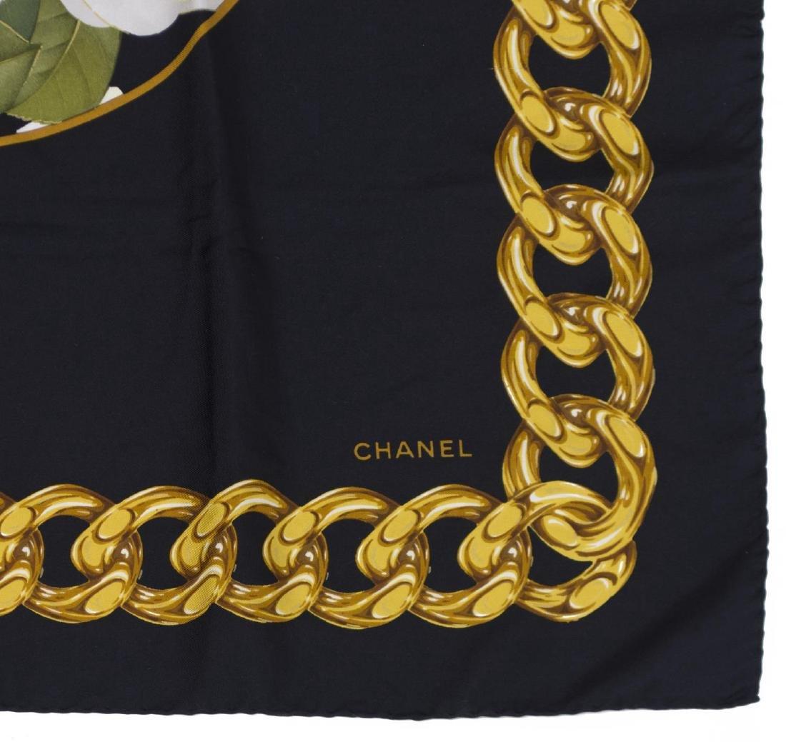 CHANEL FLORAL & CHAINLINK CC LOGO TWILL SILK SCARF - 3