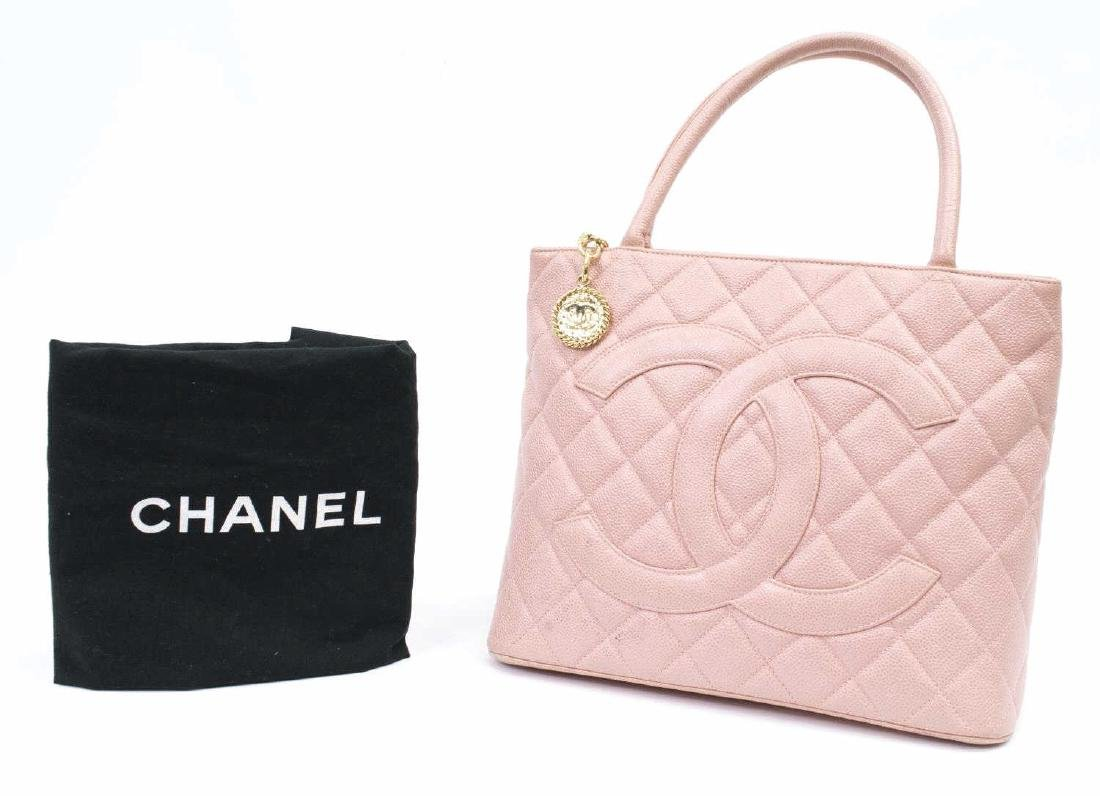 CHANEL 'MEDALLION' QUILTED CAVIAR LEATHER TOTE