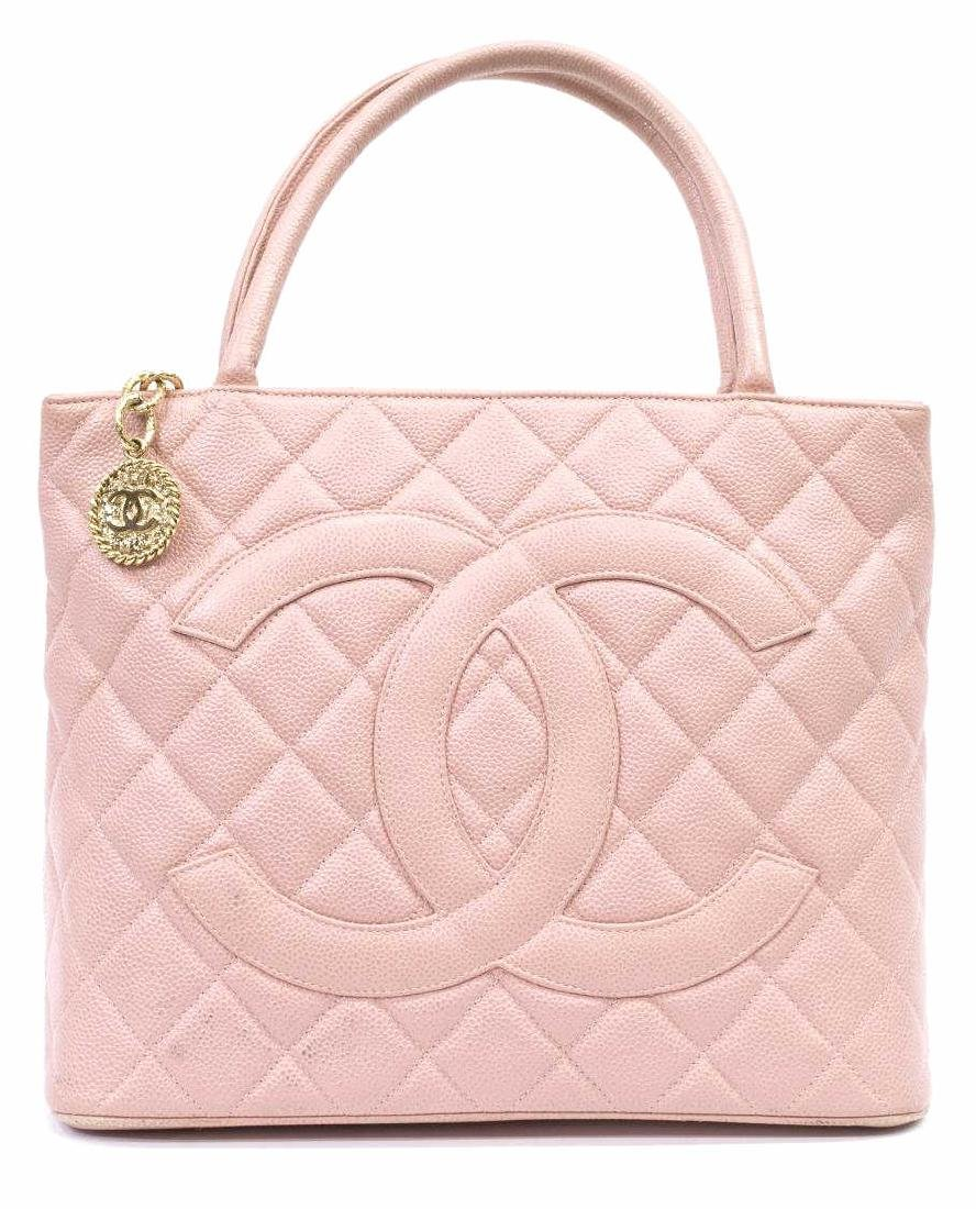 CHANEL 'MEDALLION' QUILTED CAVIAR LEATHER TOTE - 2