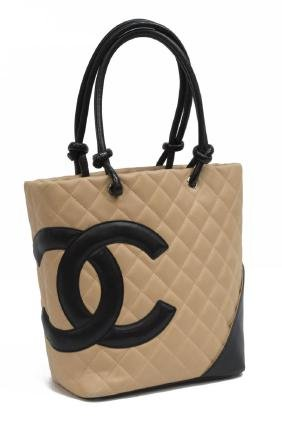 CHANEL 'LINGE CAMBON' QUILTED BEIGE TOTE BAG