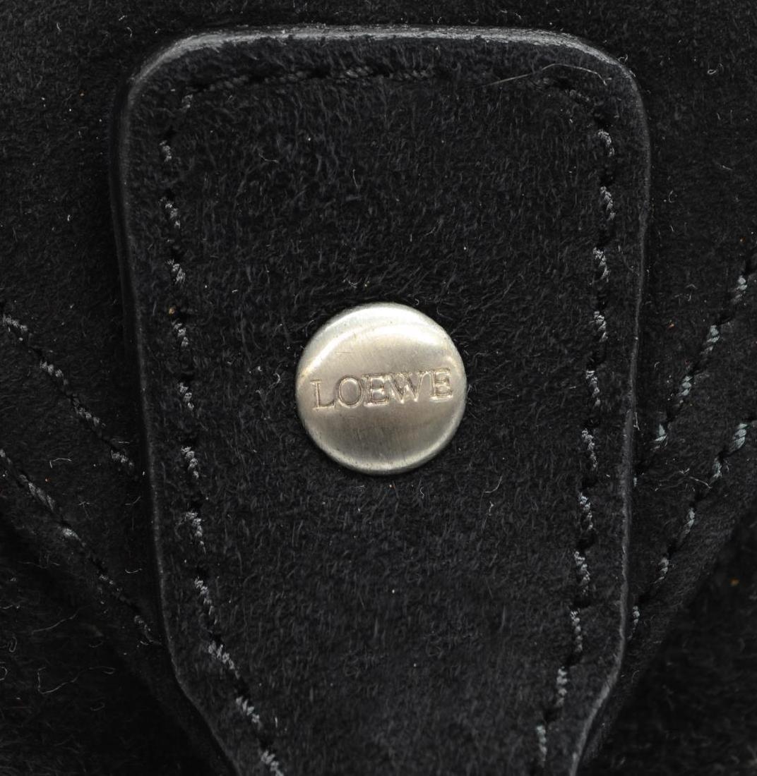 LOEWE SILVER & BLACK GRAINED NUBUCK HANDBAG - 5