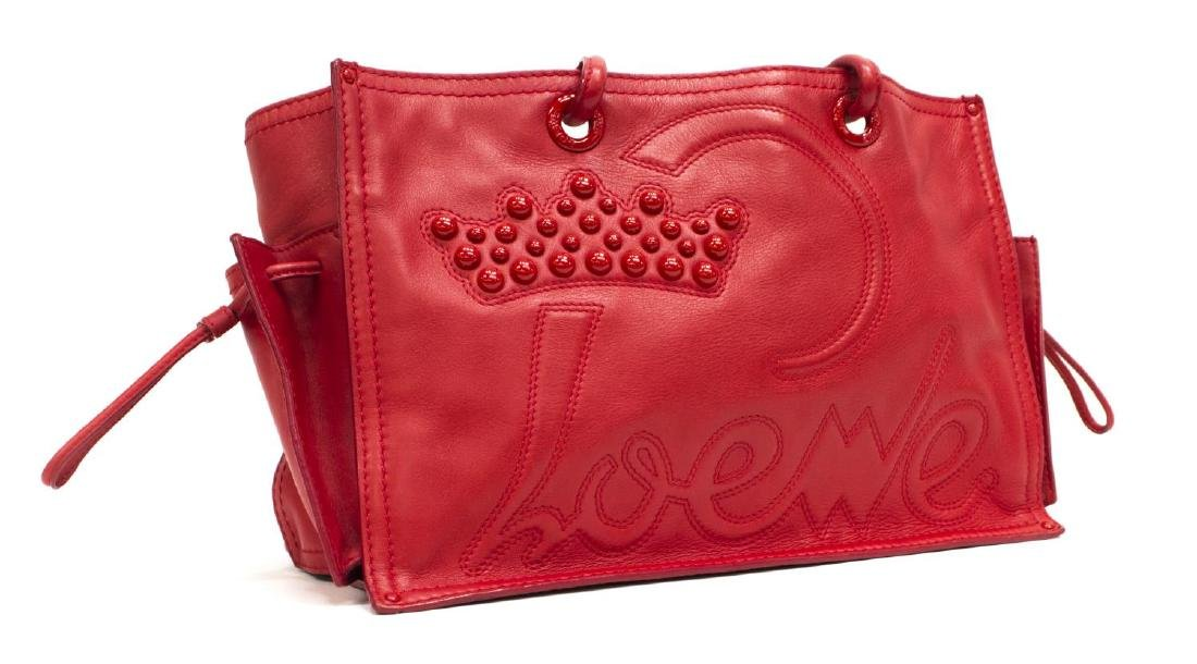LOEWE RED LEATHER CROWN MOTIF TOTE BAG