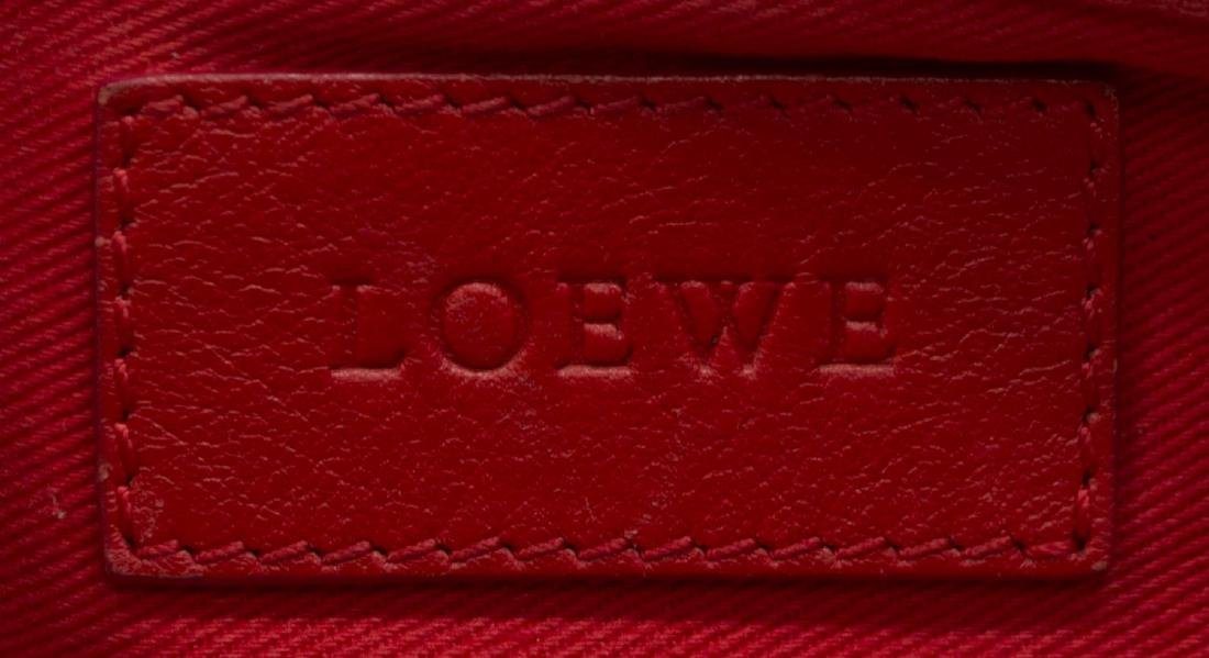 LOEWE RED LEATHER CROWN MOTIF TOTE BAG - 6