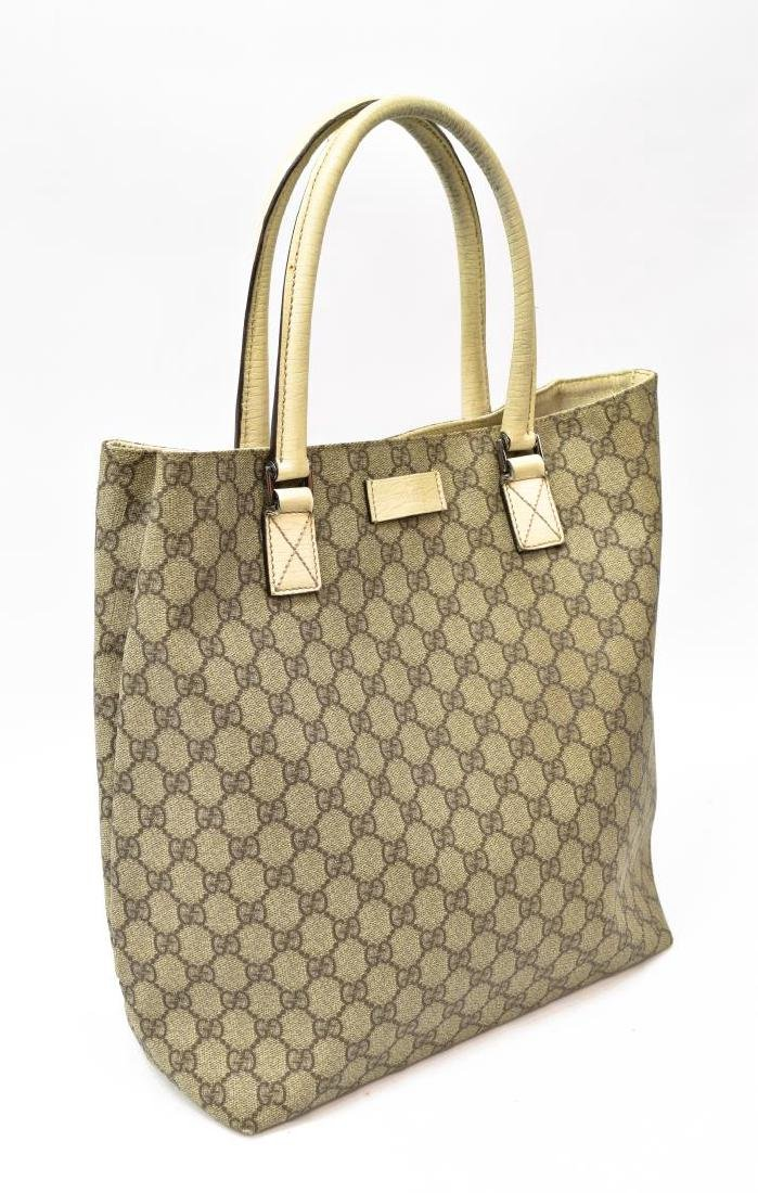 GUCCI COATED MONOGRAM CANVAS & LEATHER TOTE BAG