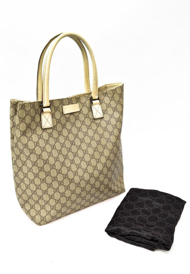GUCCI COATED MONOGRAM CANVAS & LEATHER TOTE BAG - 2