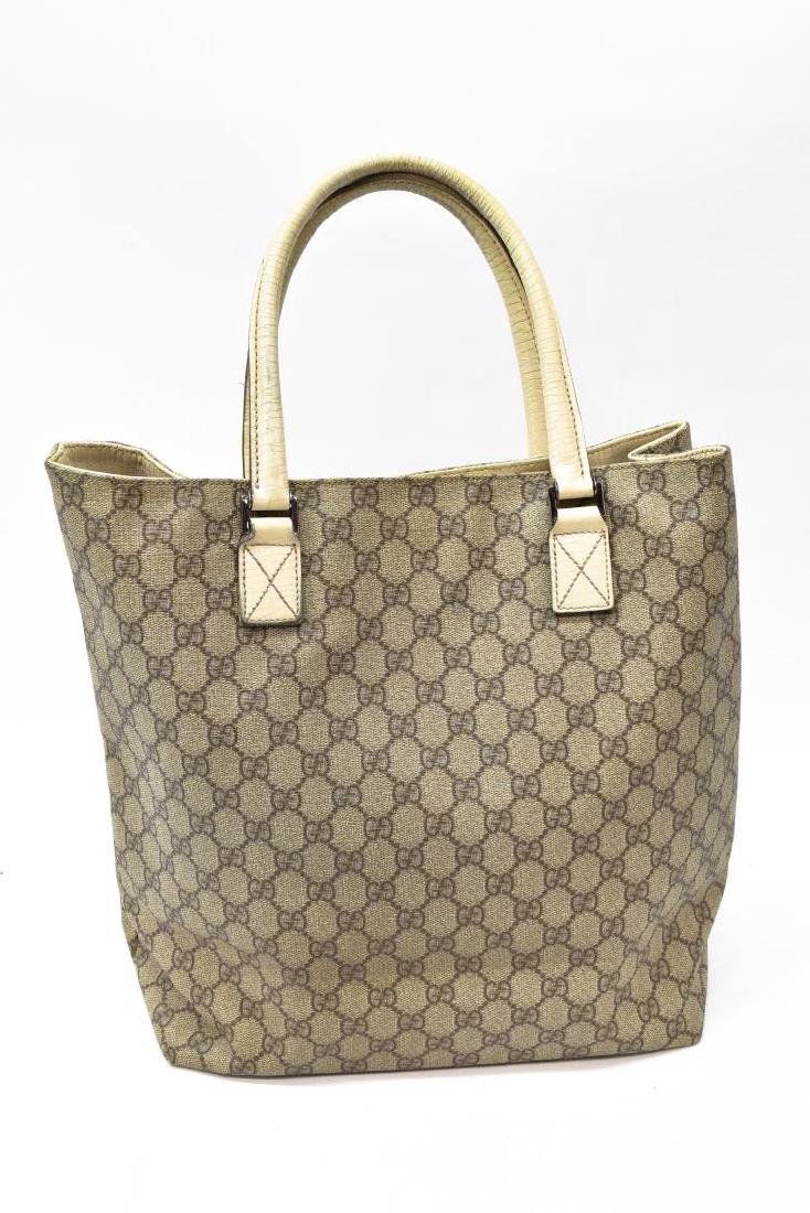 GUCCI COATED MONOGRAM CANVAS & LEATHER TOTE BAG - 3