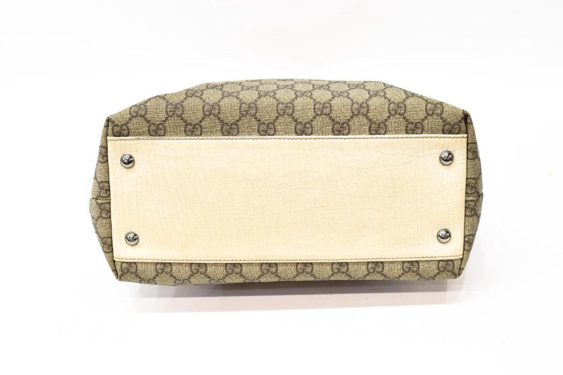 GUCCI COATED MONOGRAM CANVAS & LEATHER TOTE BAG - 4