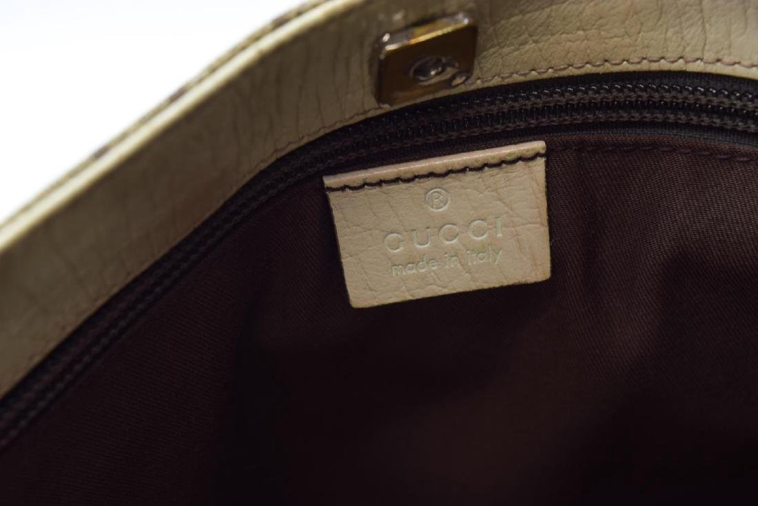 GUCCI COATED MONOGRAM CANVAS & LEATHER TOTE BAG - 5
