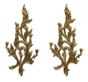 (PAIR) LOUIS XV STYLE GILTWOOD CANDLE SCONCES