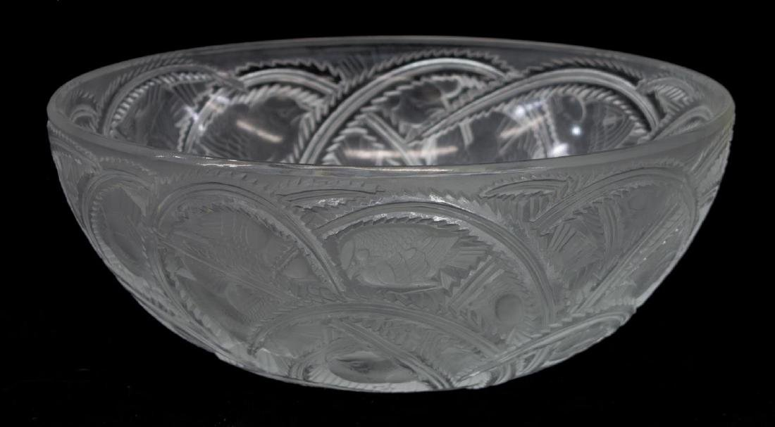LALIQUE ART GLASS 'PINSON' SPARROW FROSTED BOWL - 2