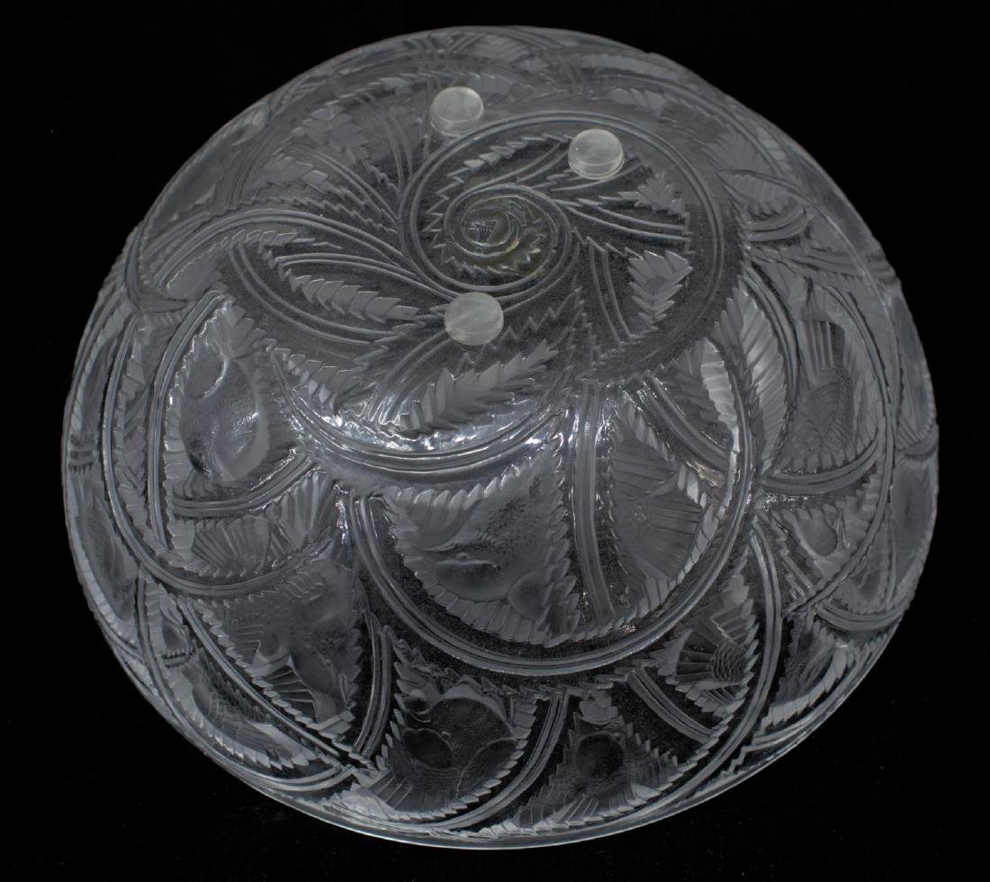 LALIQUE ART GLASS 'PINSON' SPARROW FROSTED BOWL - 4