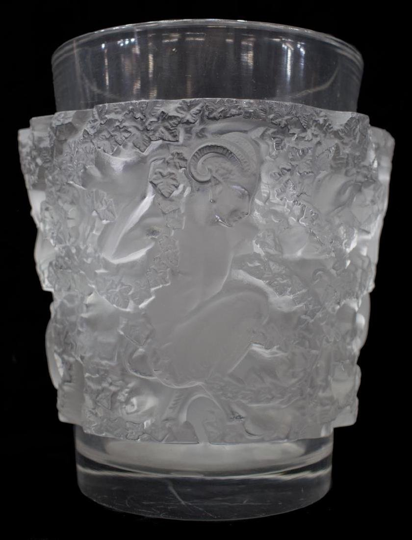 LALIQUE FROSTED & CLEAR ART GLASS SATYR VASE - 3