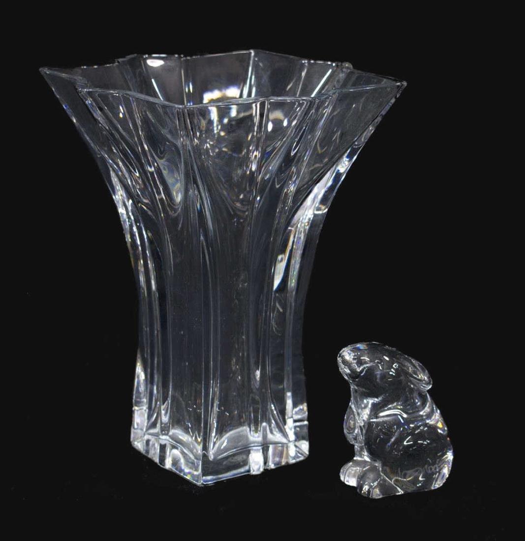 (2) BACCARAT CLEAR ART GLASS GROUP, VASE & RABBIT