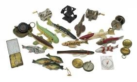 (21) COLLECTION OF FISHING LURES, REELS, COMPASSES