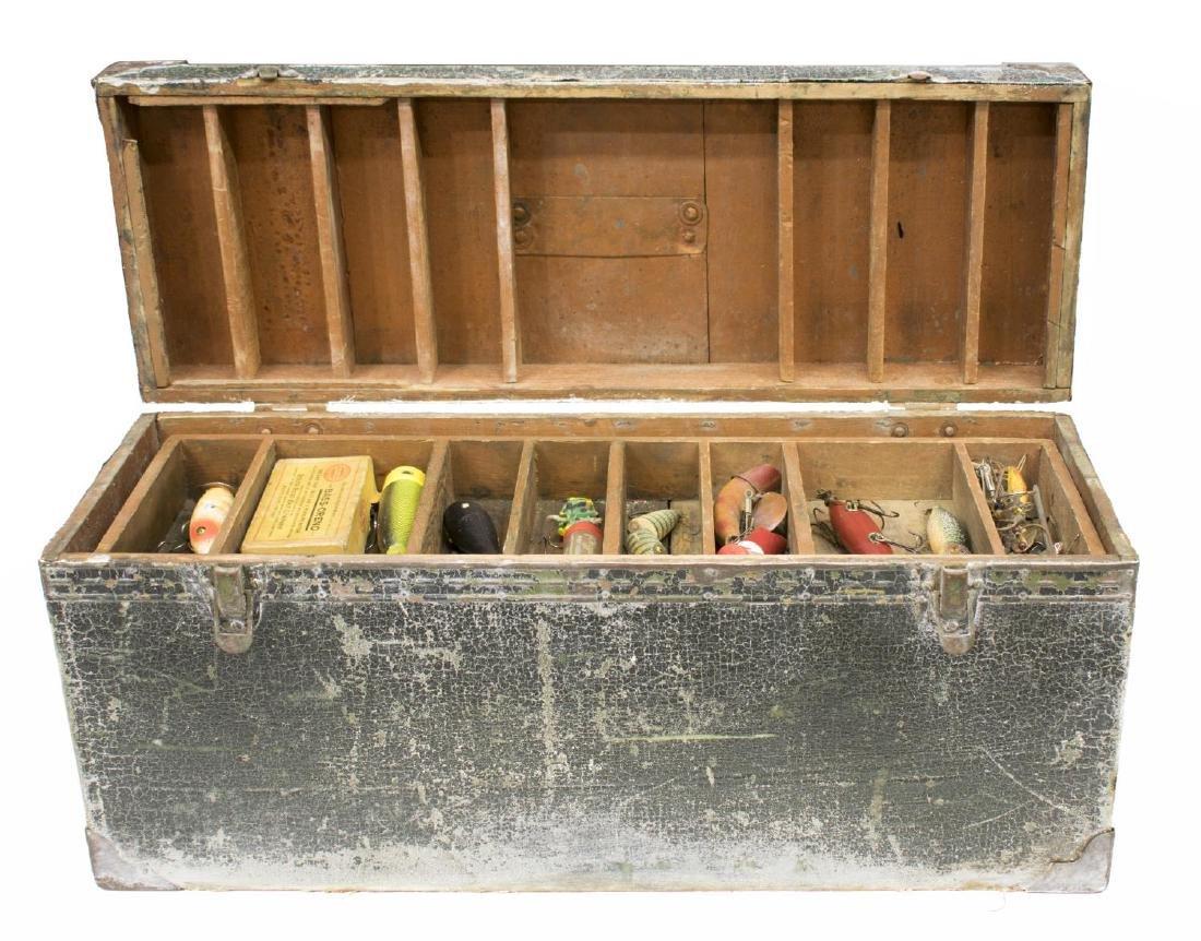VINTAGE FISHING TACKLE & WOOD TACKLE BOX - 2