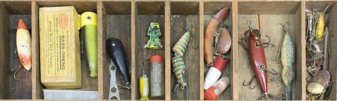 VINTAGE FISHING TACKLE & WOOD TACKLE BOX - 4