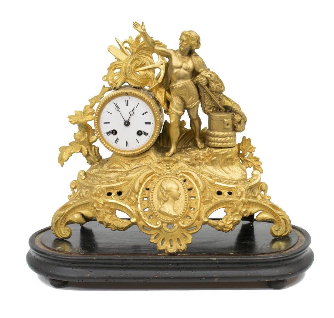 FRENCH PH MOUREY GILT METAL FIGURAL MANTLE CLOCK