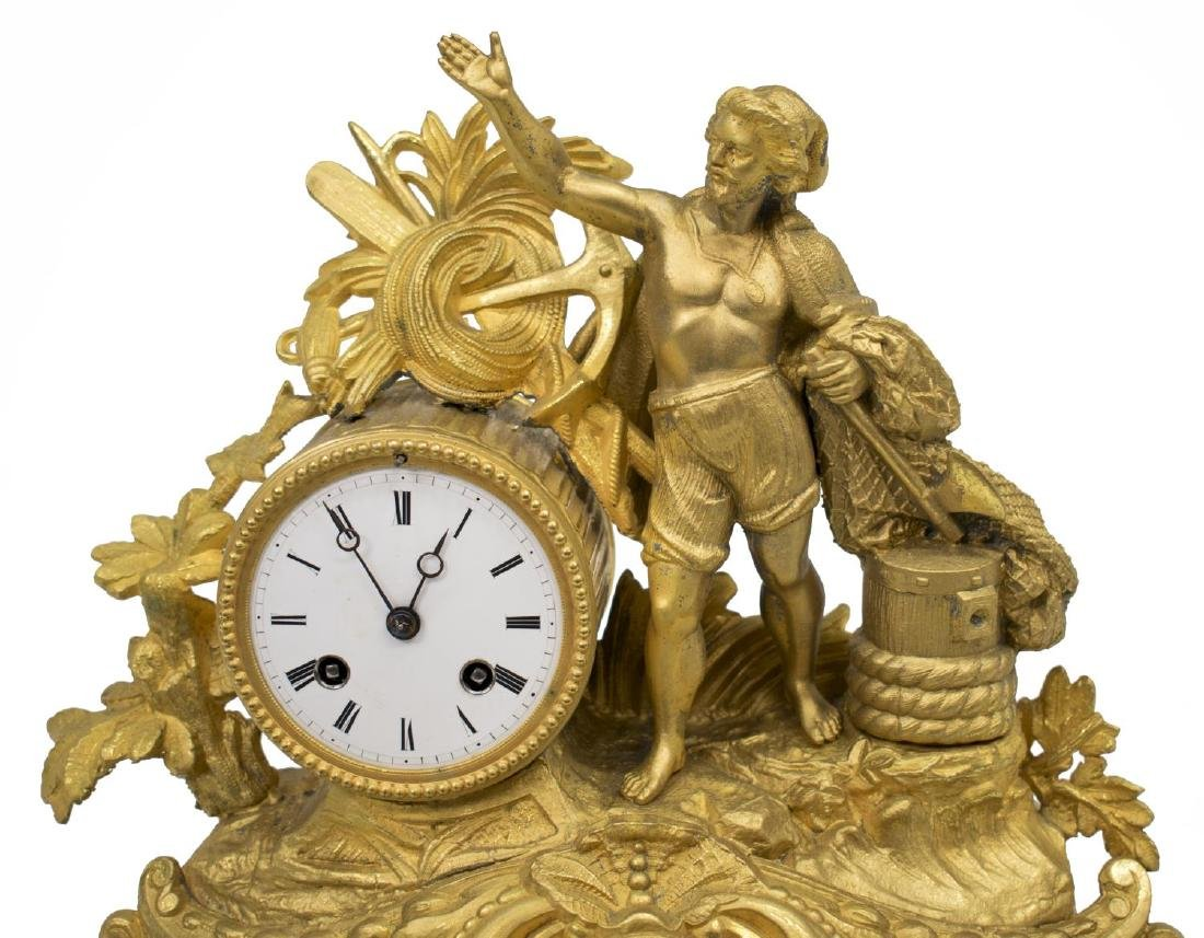 FRENCH PH MOUREY GILT METAL FIGURAL MANTLE CLOCK - 2