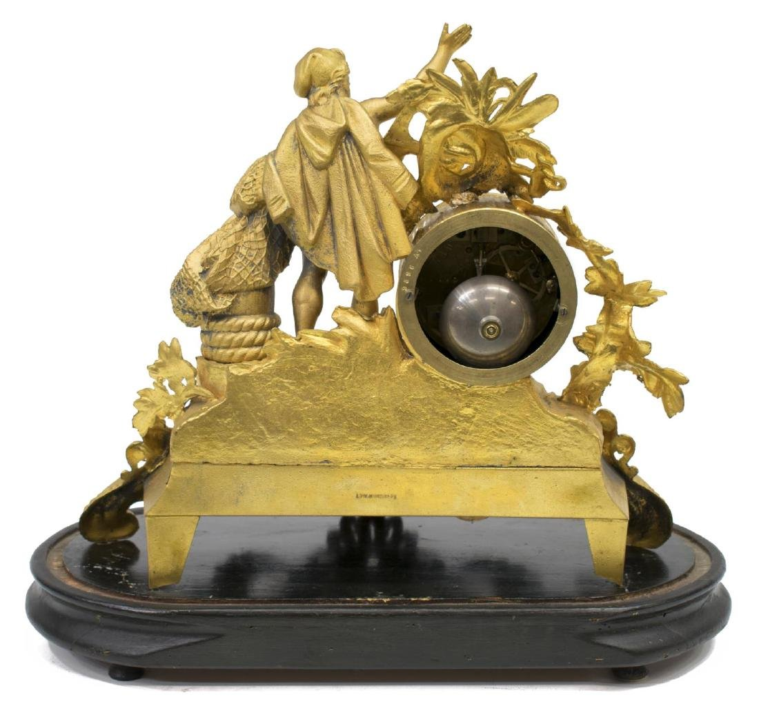 FRENCH PH MOUREY GILT METAL FIGURAL MANTLE CLOCK - 4