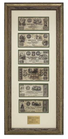 (6) REPUBLIC OF TEXAS CURRENCY, PRES. LAMAR SIGNED