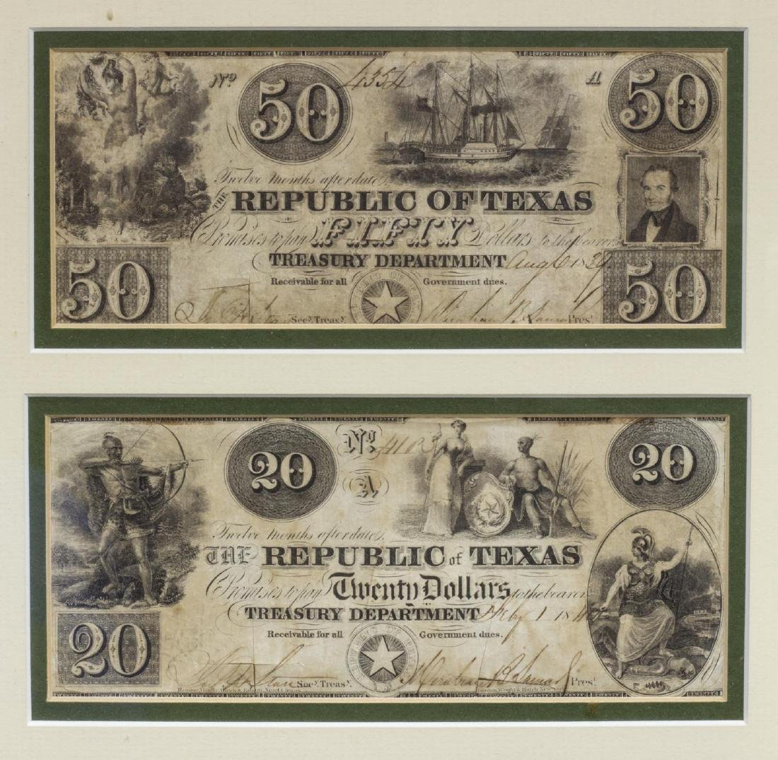 (6) REPUBLIC OF TEXAS CURRENCY, PRES. LAMAR SIGNED - 4
