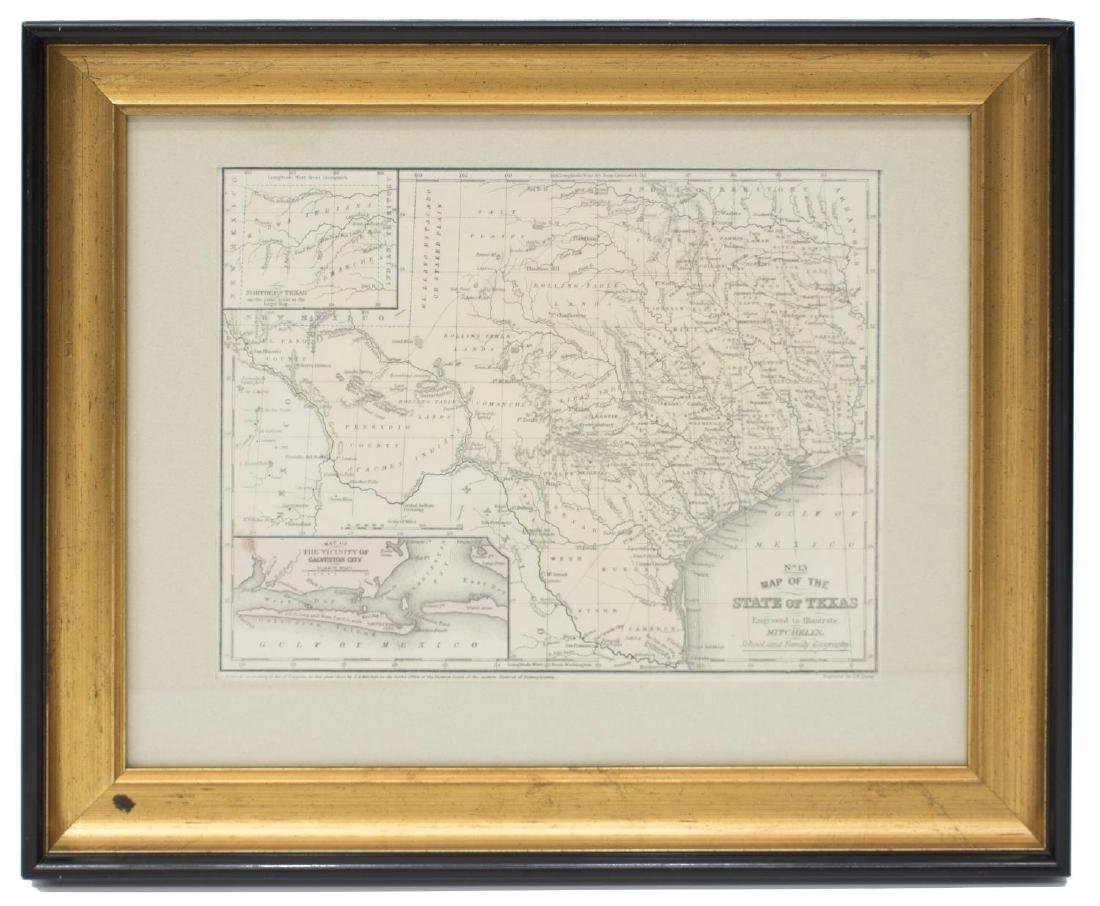 MITCHELL'S MAP OF THE STATE OF TEXAS, 1852 - 2