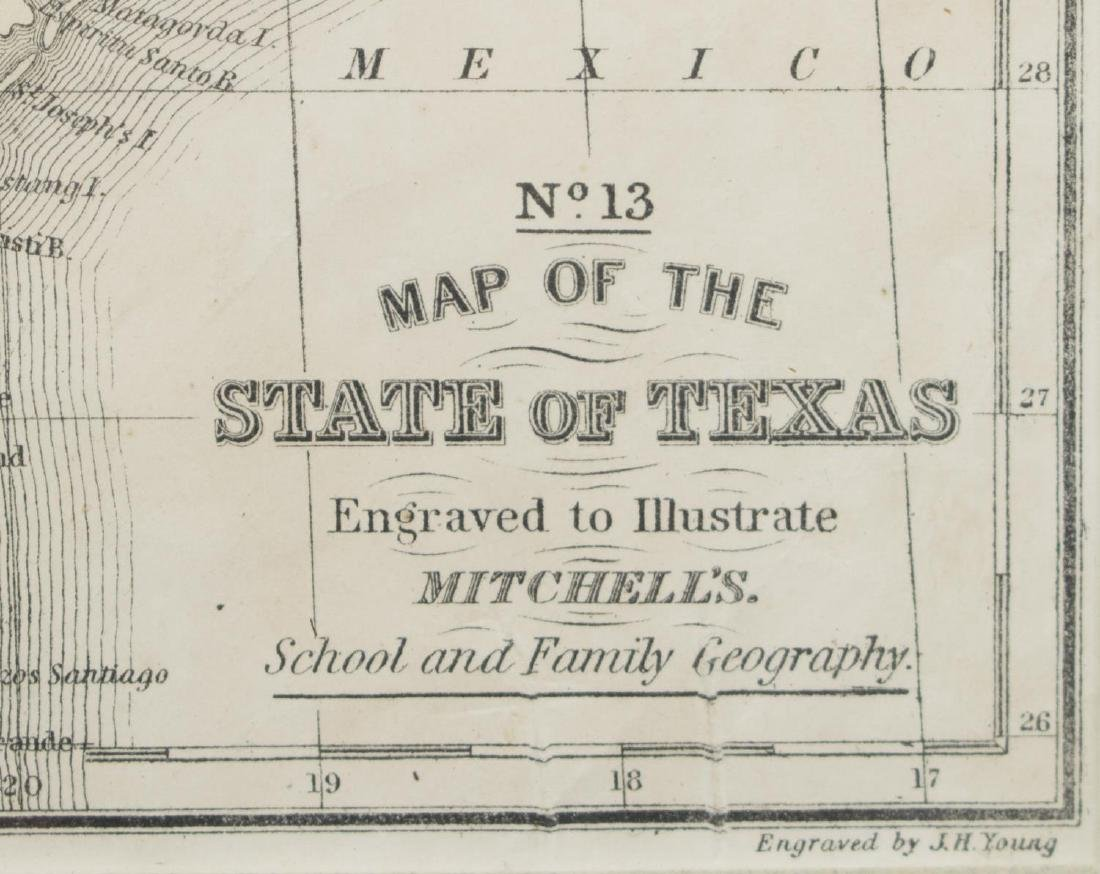 MITCHELL'S MAP OF THE STATE OF TEXAS, 1852 - 3
