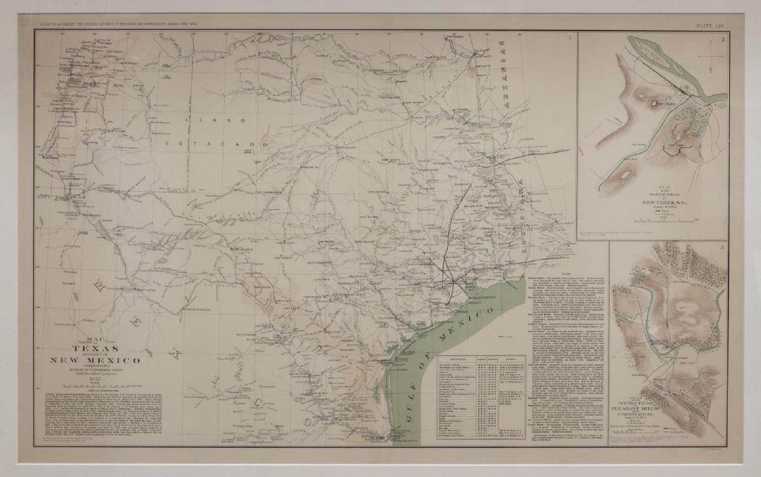 1857 MAP OF TEXAS, PUB. 1895, ATLAS OF CIVIL WAR