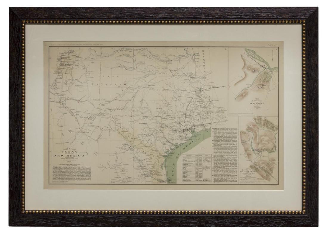 1857 MAP OF TEXAS, PUB. 1895, ATLAS OF CIVIL WAR - 2