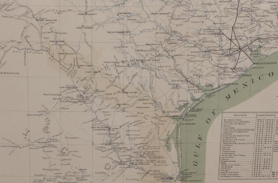 1857 MAP OF TEXAS, PUB. 1895, ATLAS OF CIVIL WAR - 4