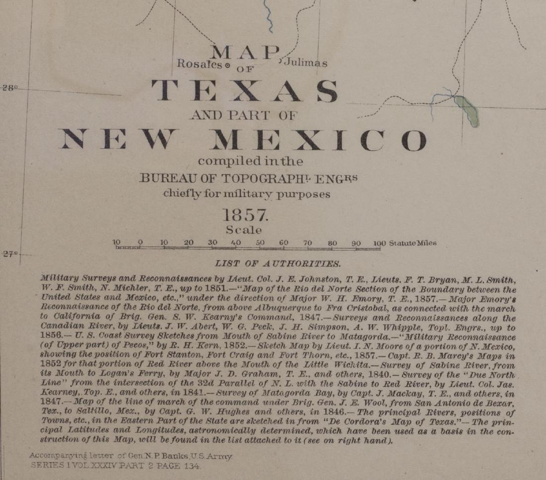 1857 MAP OF TEXAS, PUB. 1895, ATLAS OF CIVIL WAR - 5