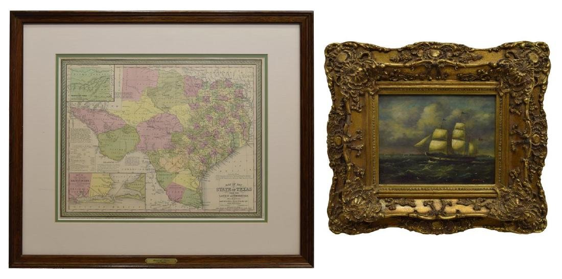 (2) MAP OF TEXAS, JH YOUNG & FRAMED MARINE PRINT