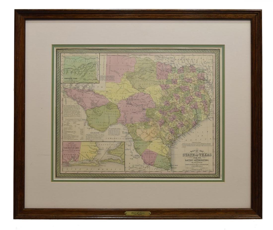 (2) MAP OF TEXAS, JH YOUNG & FRAMED MARINE PRINT - 2
