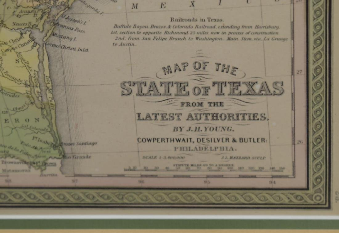 (2) MAP OF TEXAS, JH YOUNG & FRAMED MARINE PRINT - 3